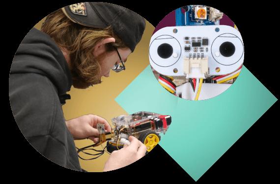 College student building a GoPiGo Raspberry Pi robot