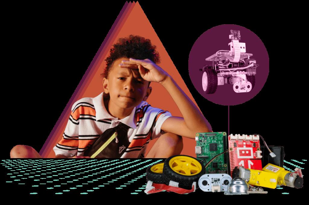 Teen with a pile of GoPiGo parts ready to become a robot.