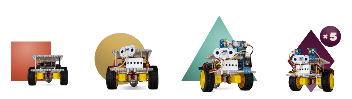 All four GoPiGo Raspberry Pi robot options - GoPiGo Core, GoPiGo, GoBox, GoPiGo for Groups