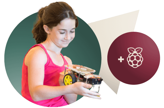 Girl exploring Raspberry Pi robotics with GoPiGo