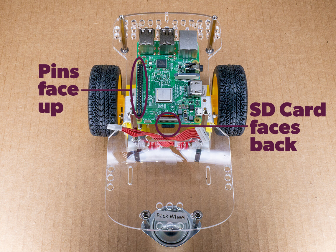 Align Raspberry Pi so pins face up and microSD card faces back of robot.