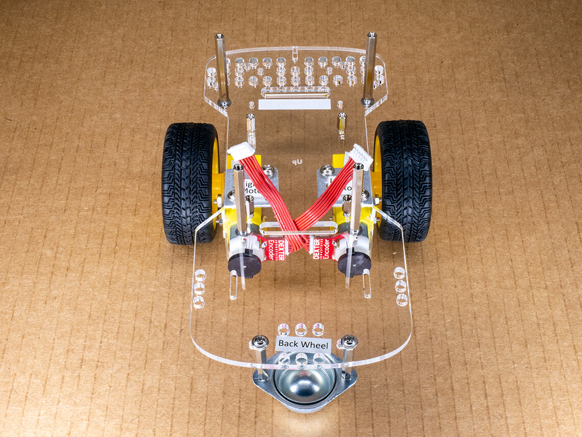 Goal for step 3 - attach motors, cables, wheels, and caster wheel.