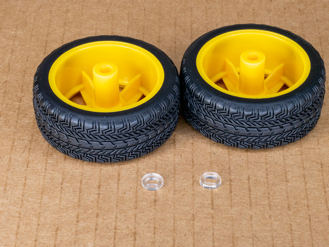 Wheels with acrylic spacers.