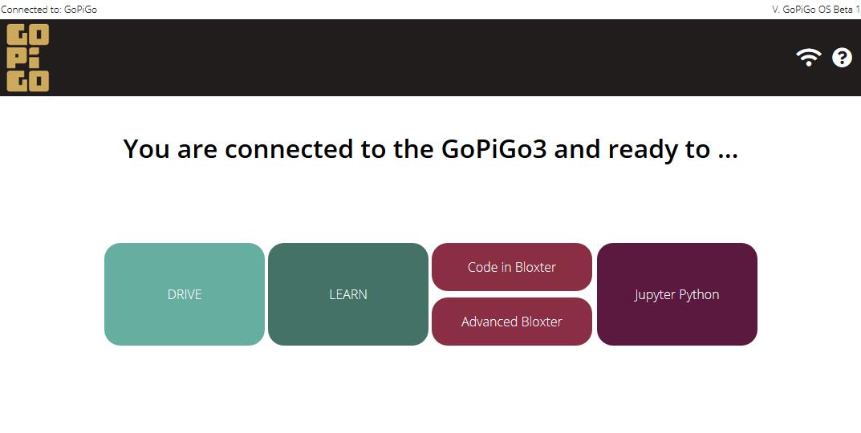 GoPiGo OS Main Screen