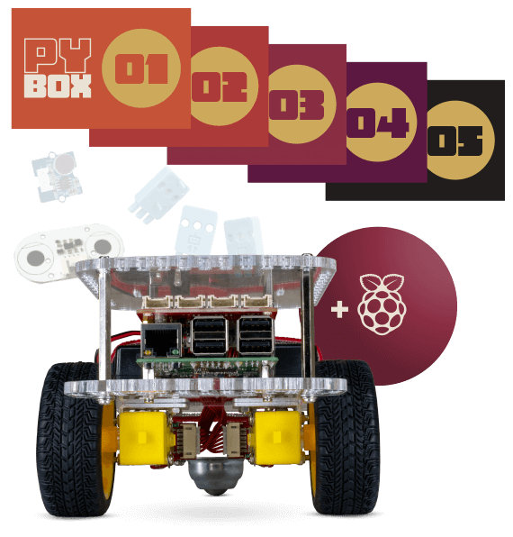 PyBox includes a GoPiGo Core, Raspberry Pi computer, extra parts and python missions.