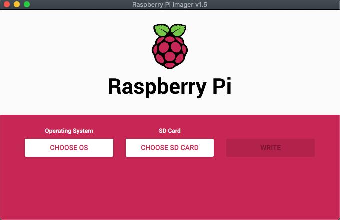 Raspberry Pi Imager - default starting screen