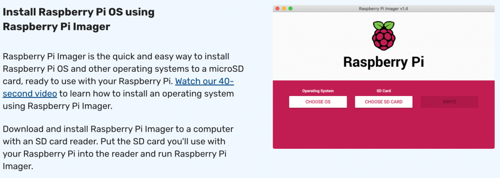 Raspberry Pi Imager Software from the Raspberry Pi Foundation.